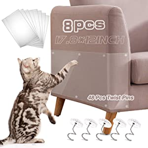 Axgo Cat Couch Protector, 8 Pack 17.8 x 12 Inch Self-Adhesive Cat Scratch Furniture Protector with 48 Twist Pins, Furniture Protection from Cat Scratching Cover to Protect Sofa, Door, Wall and Seat