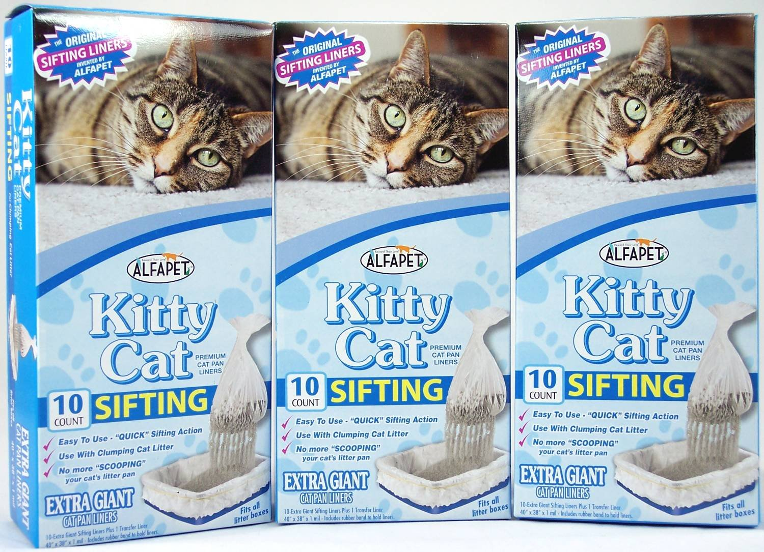 Alfa Pet Kitty Cat Pan Liners, 10 count, Pack of 3