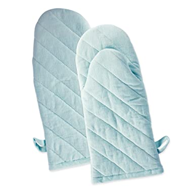 DII Cotton Chambray Oven Mitts, 13x6  Set of 2, Machine Washable and Heat Resistant for Kitchen Cooking and Baking-Aqua