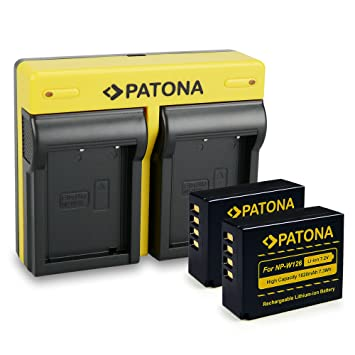 PATONA Dual Cargador Fujifilm NP-W126 con micro USB + 2x Bateria para Fujifilm FinePix HS30EXR HS33EXR X-Pro1
