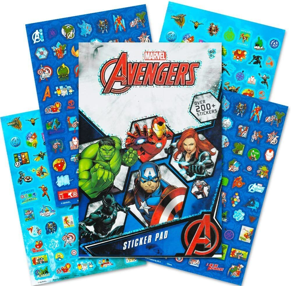 Marvel comics 400 stickers book 5 sheets Spiderman Hulk Iron Man Thor Avengers