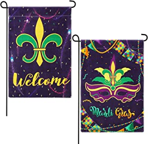 Tatuo 2 Pieces Mardi Gras Garden House Flag Fleur De Lis Garden Flag Double Sided Mardi Gras Party Decoration Flag for Yard Lawn Decoration, 12 x 18 Inch