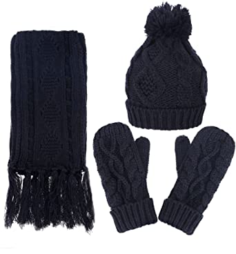 eda6a546c8d ANDORRA 3 in 1 Soft Warm Thick Cable Knitted Hat Scarf   Gloves Winter Set