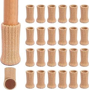 "Ezprotekt 24 Pack Chair Socks High Elastic Furniture Socks Pads Non-Slip Chair Leg Feet Socks Covers, Fit Furniture Feet Diameter from 1"" to 2"", Knitted Furniture Cups Floor Protector Khaki"