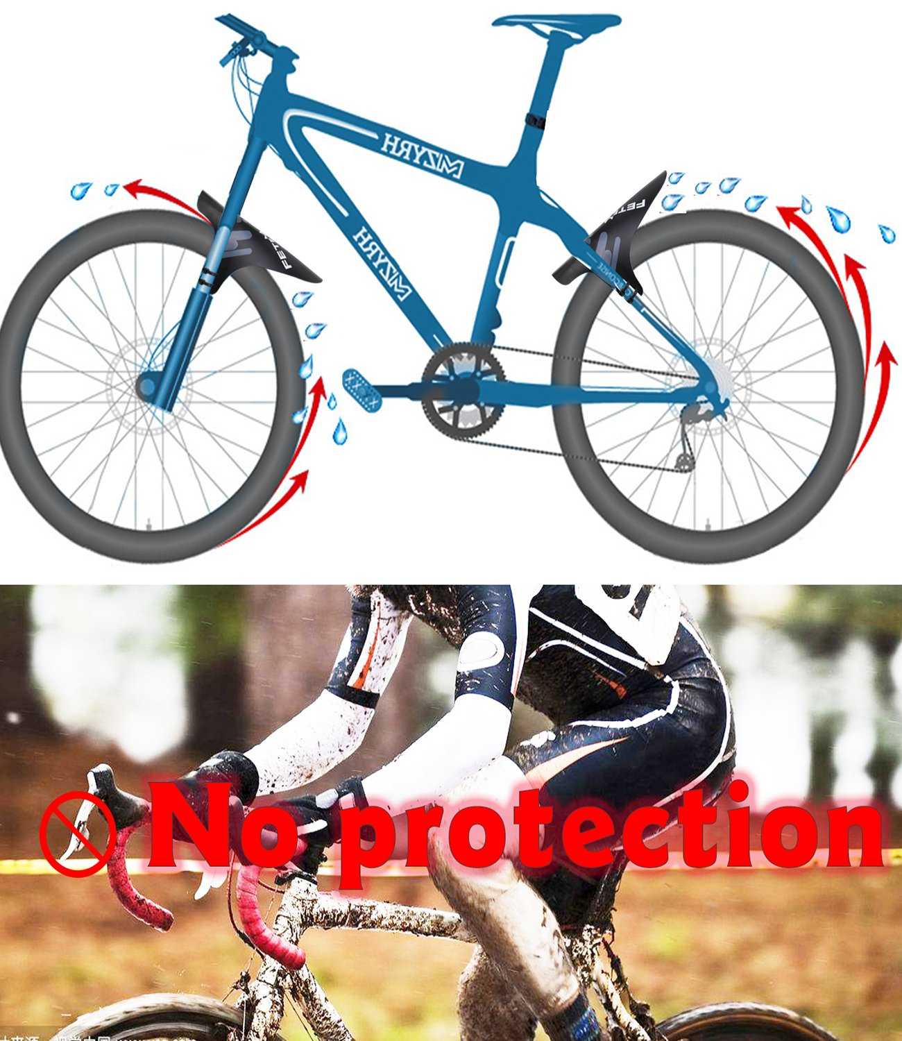 29 Plus Size and Fat Bike Wheel Sizes MTB Mudguard Cycling Fender Fits 26 Mountian Bike Fender Front and Rear Compatible 27.5