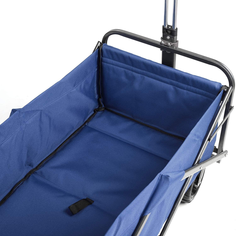 Sekey Folding Wagon Cart Collapsible Outdoor Utility Wagon Garden Shopping Cart Beach Wagon with All-Terrain Wheels 265 Pound Capacity Blue
