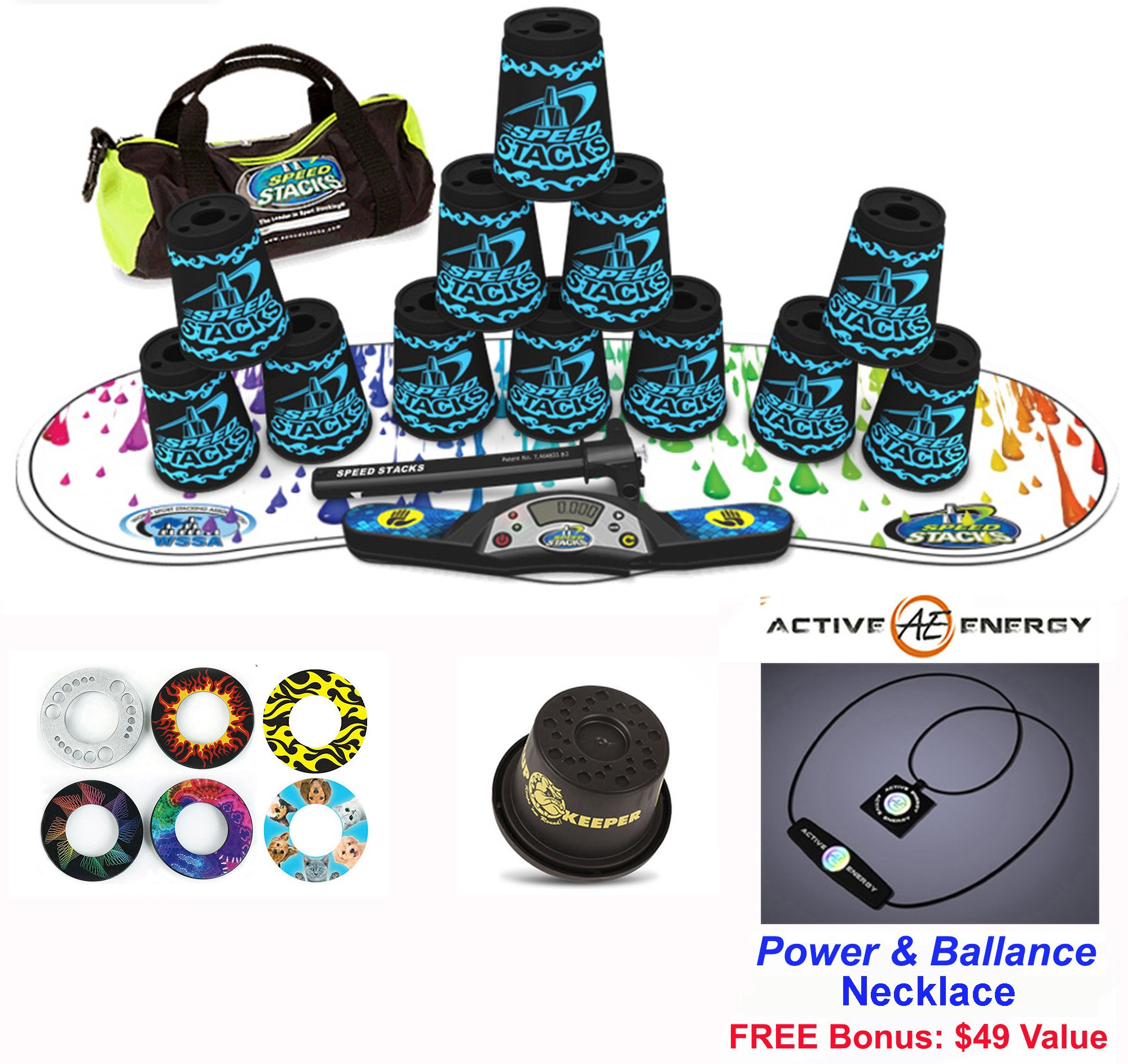 Speed Stacks Combo Set ''The Works'': 12 TATTOO 4'' Cups, RAINBOW DROP Gen 3 Mat, G4 Pro Timer, Cup Keeper, Stem, Gear Bag + Active Energy Necklace by Speed Stacks
