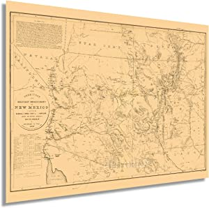 HISTORIX Vintage 1867 Map of New Mexico and Arizona - 18x24 Inch Vintage Arizona New Mexico Map - New Mexico Old Territory and Military Department Map Wall Art Decor - Arizona Map Poster (2 Sizes)