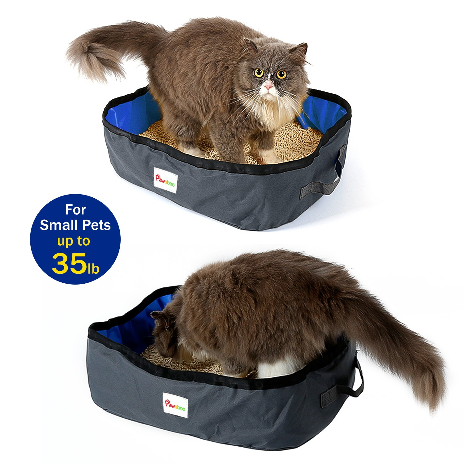 Pawaboo Caja de Arena Plegable para Gatos, 18 x 12 Inch Portable Waterproof Fabric Pet Cat Ketty Litter Pan Tray for Travel Camping Home Use, ...