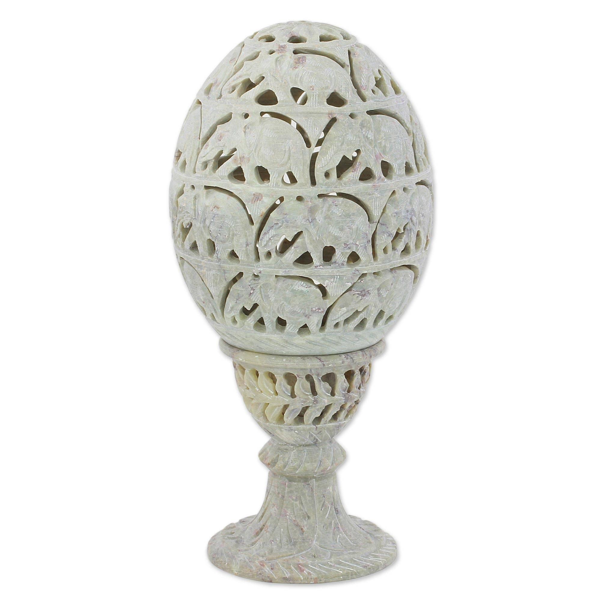 NOVICA Animal Themed Soapstone Candle Holder, Grey, Elephant Egg'