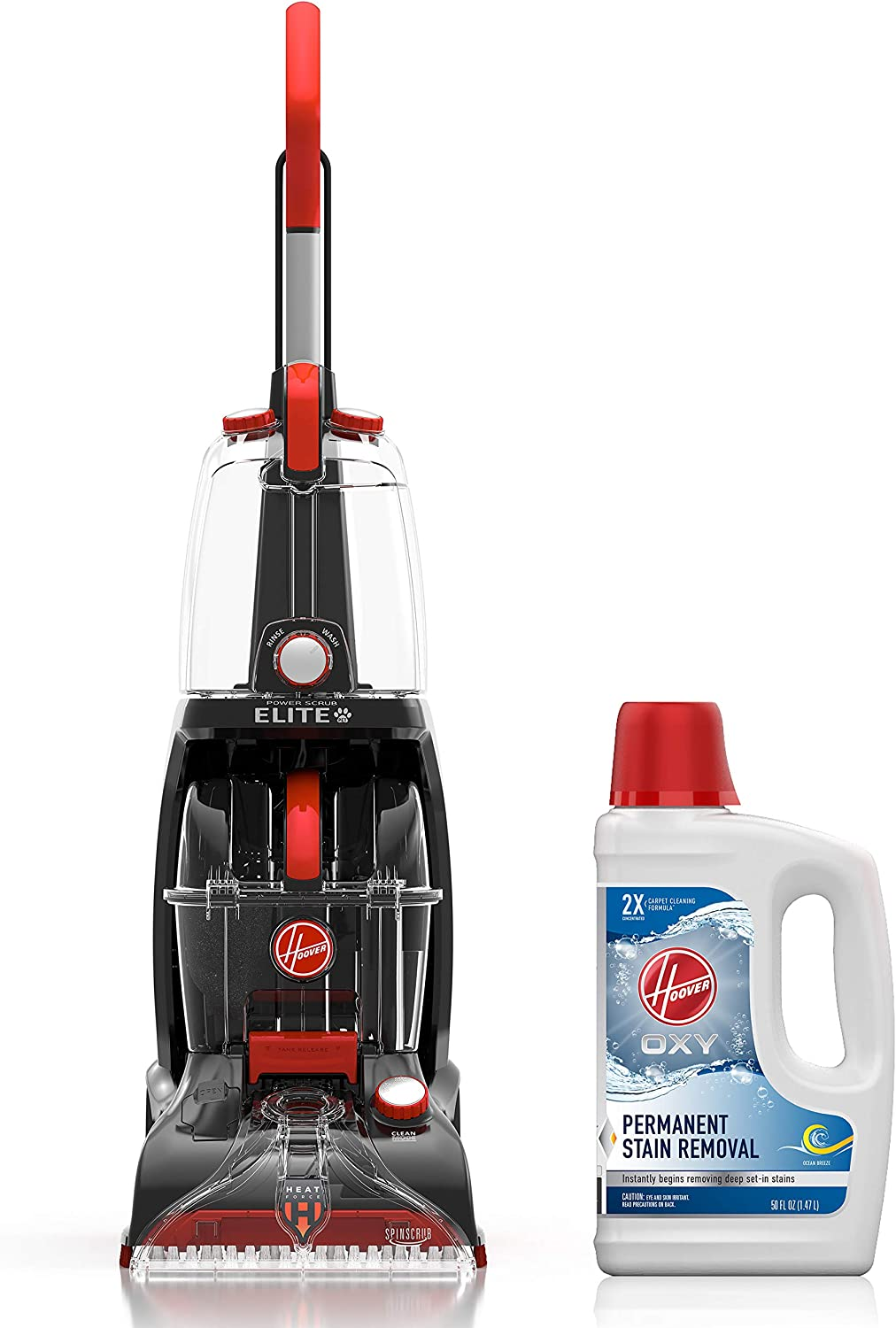 Hoover Power Scrub Elite Pet Carpet Cleaner with Oxy Carpet Cleaning Solution (50 oz), FH50251, AH30950