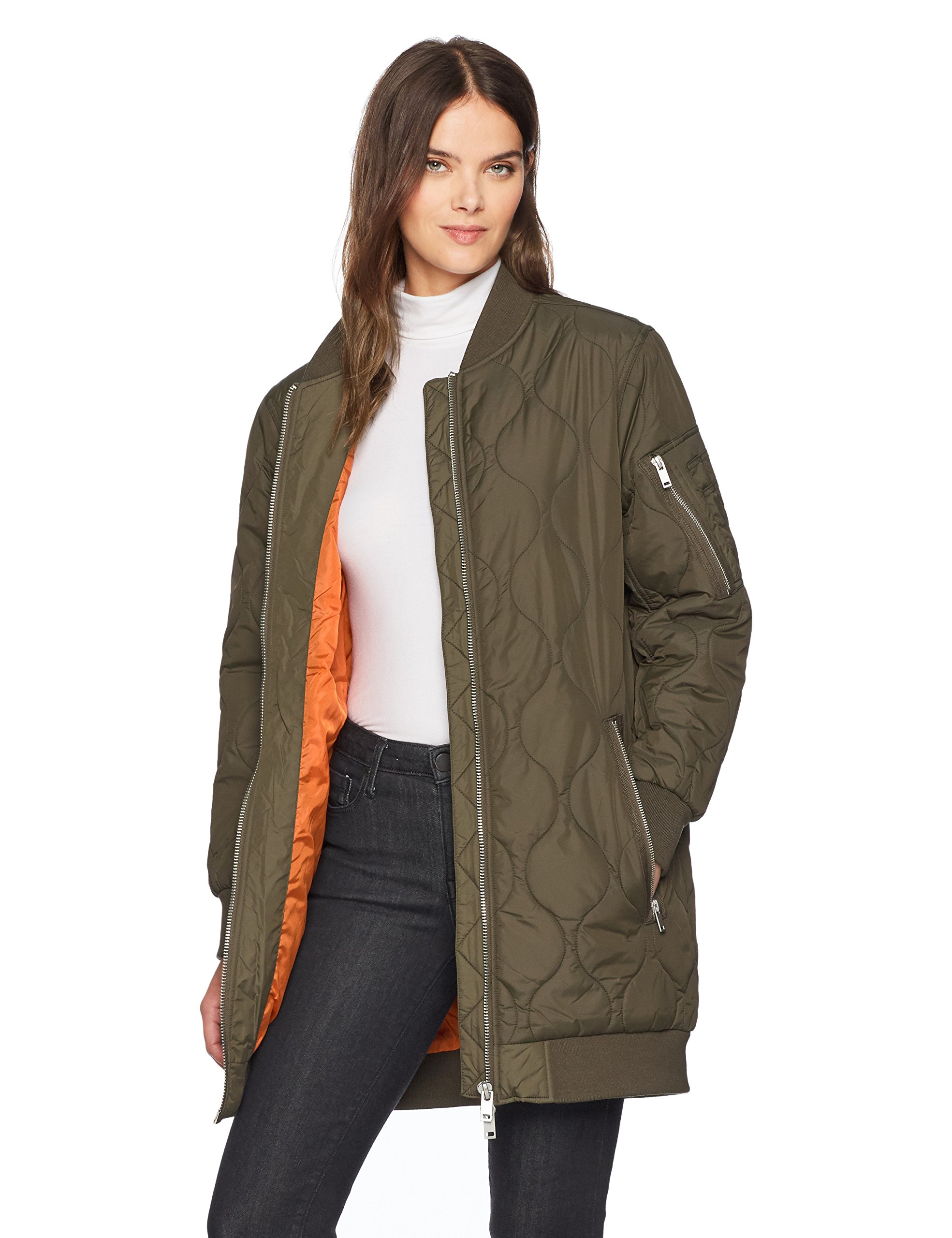 French Connection Women's Ardis Puffer Bomber Jacket, Dusty Olive, S by French Connection