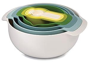 Joseph Joseph 40085 Nest 9 Nesting Bowls Set with Mixing Bowls Measuring Cups Sieve Colander, 9-Piece, Blue