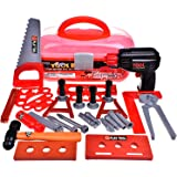 Kids Tool Sets & Construction Toys, Toddler Tool Box Workshop Power Play Tools, Realistic Pretend Role Play Set Gifts for Boys with Electric Toy Drill, Hammer Wrench(Batteries Included) 36pcs