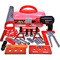 Kids Tool Sets & Construction Toys, Toddler Tool Box Workshop Power Play Tools, Realistic Pretend Role Play Set Gifts for Boys With Electric Toy Drill, Hammer Wrench (Batteries Included) 36 PCs