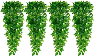 HATOKU 4pcs Artificial Hanging Plants 3.6FT Indoor Ivy Vine Fake Leaves for Wall Home Room Garden Wedding Garland Outside Decoration