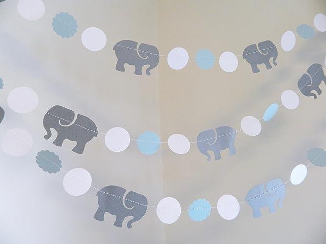Elephant Garland / Elephant Baby Shower Decorations / Blue U0026 Gray Elephant  Nursery Decoration   Gray