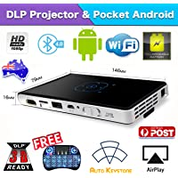 DLP 2000 lumens Mini Portable Mobile Android 4.4 Projector Airdrop Sharing Screen Bulit-in Battery 1080p 5G Dual Band WiFi Bluetooth 4.0 1/8GB Quad-Core CUP Movie Multimedia Player Pocket Projection and Power Bank