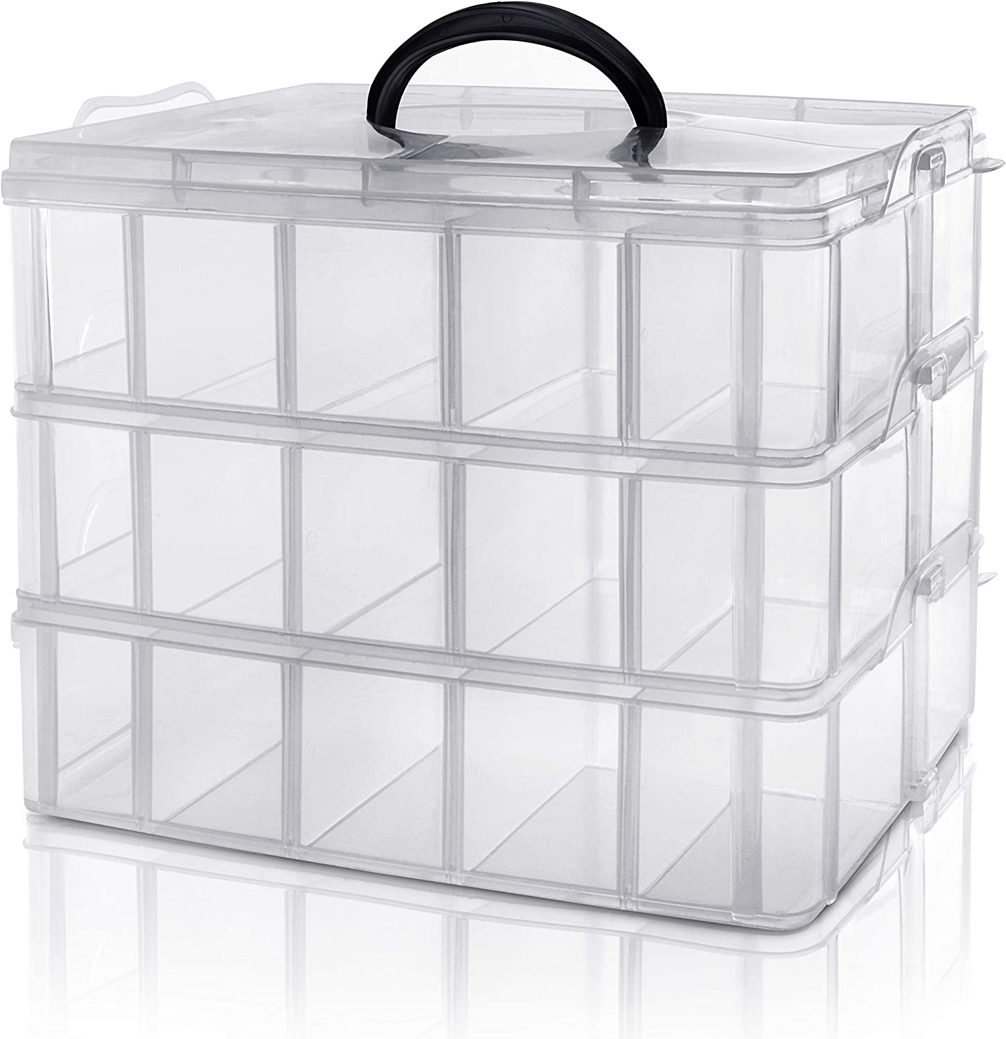 Kurtzy 3 Tier Clear Transparent Plastic Stackable Storage Box - Adjustable Compartment Slots - Maximum 30 Compartments - Container for Storing & Organising Toys, Jewellery, Beads, Arts & Crafts, Tools