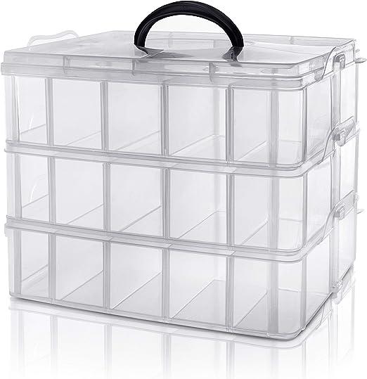 Kurtzy Caja Almacenamiento Plastico 3 Niveles - Ranuras de ...