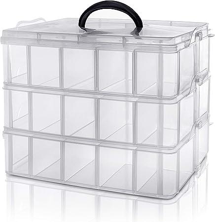 Kurtzy Caja Almacenamiento Plastico 3 Niveles - Ranuras de Compartimentos Ajustables - Caja Organizadora Plastico Transparente - Máximo 30 Compartimentos – Guardar Juguetes Joyas, Cuentas: Amazon.es: Hogar