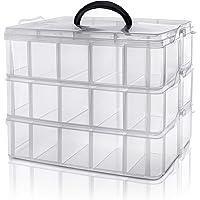 Kurtzy 3 Laags Helder Transparant Stapelbare Plastic Opslag Doos - Aanpasbare Compartimenten Slots - Maximaal 30…