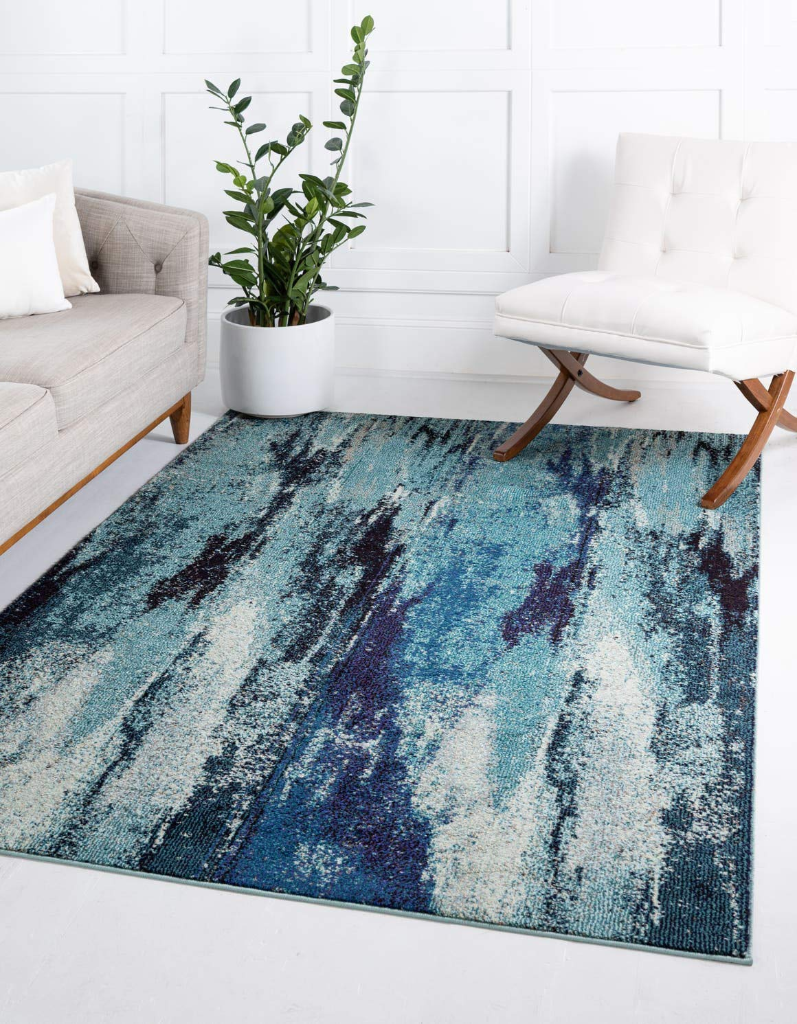 Unique Loom Jardin Collection Vibrant Abstract Blue Area Rug 5 0 x 8 0