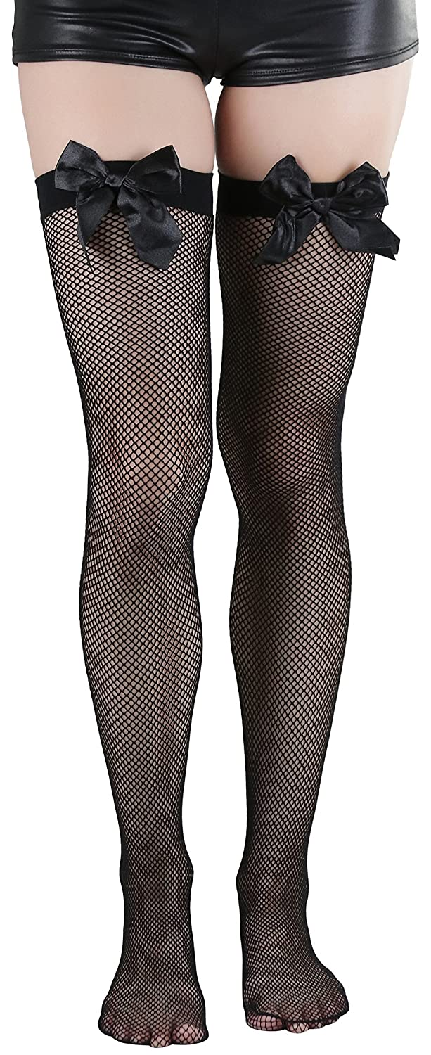 ebf04481200 Top9  ToBeInStyle Women s Fishnet Thigh High With Satin Bow Stockings Tights  Hosiery