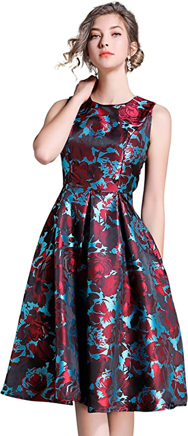 LAI MENG FIVE CATS Women's Sleeveless Round Neck Floral A Line