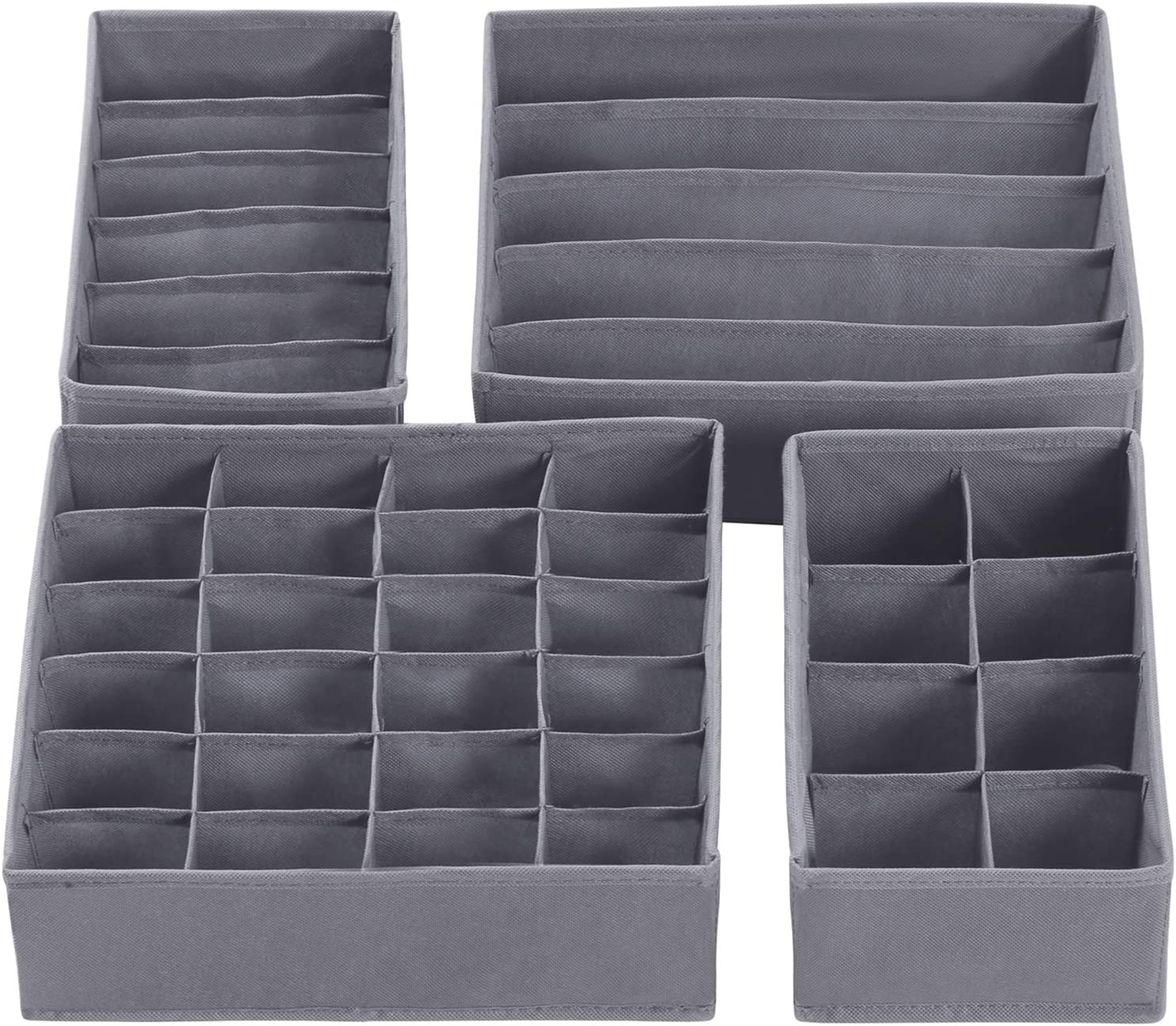 Organizador de Armario para Ropa Interior Set de 4 Piezas Gris Oscuro RUS04GY Bufandas Corbatas SONGMICS Organizador para Cajones con Compartimentos Caja de Almacenaje Plegable Calcetines