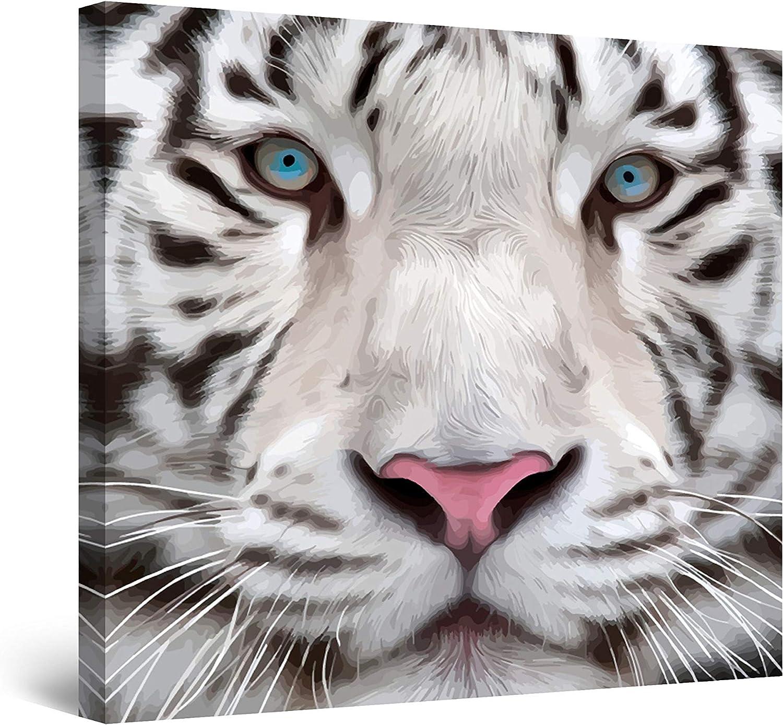 Startonight Cuadro Moderno en Lienzo - El Tigre Siberiano de Ojos Azules - Pintura Animales para Salon Decoración 80 x 80 cm
