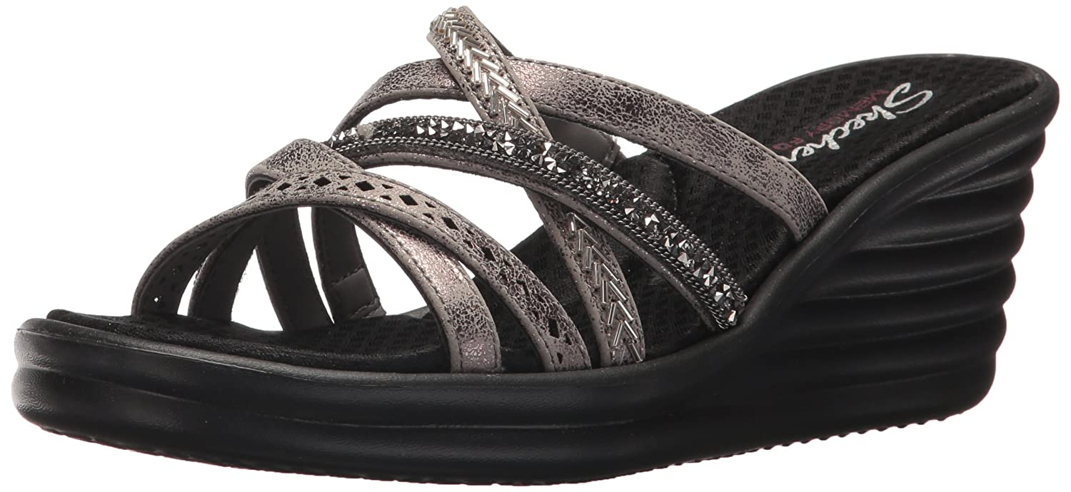 Skechers Cali Women's Rumbler Wave-New Lassie Slide Sandal B0755X151S 8.5 B(M) US|Pewter