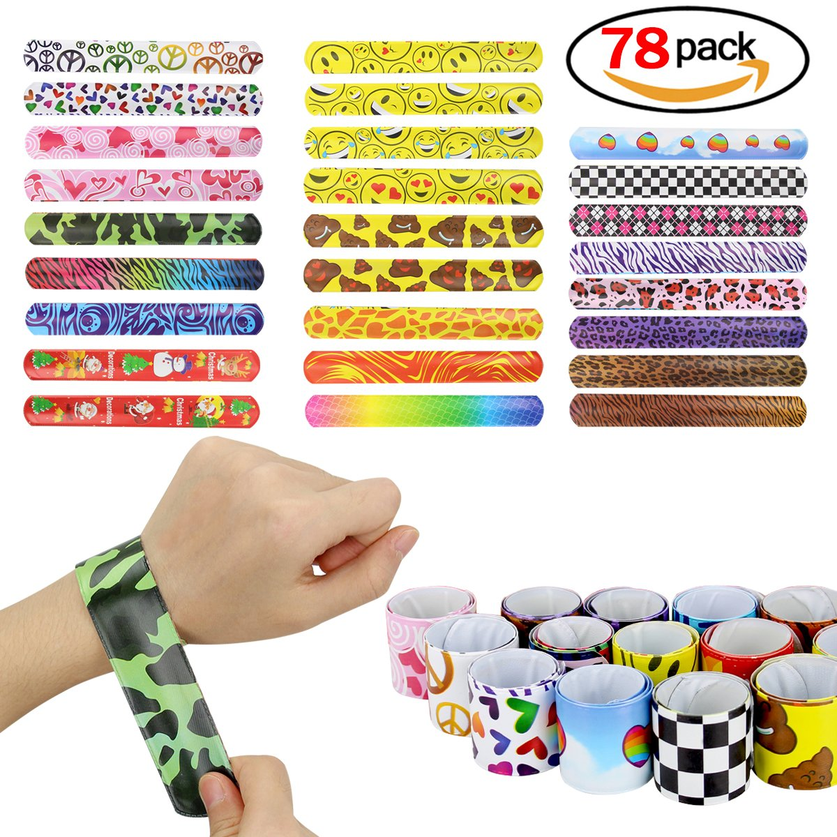 NaiCasy Bracciali Slap Bands Party Polso Bracciale Per Kids Party Favors 78pcs