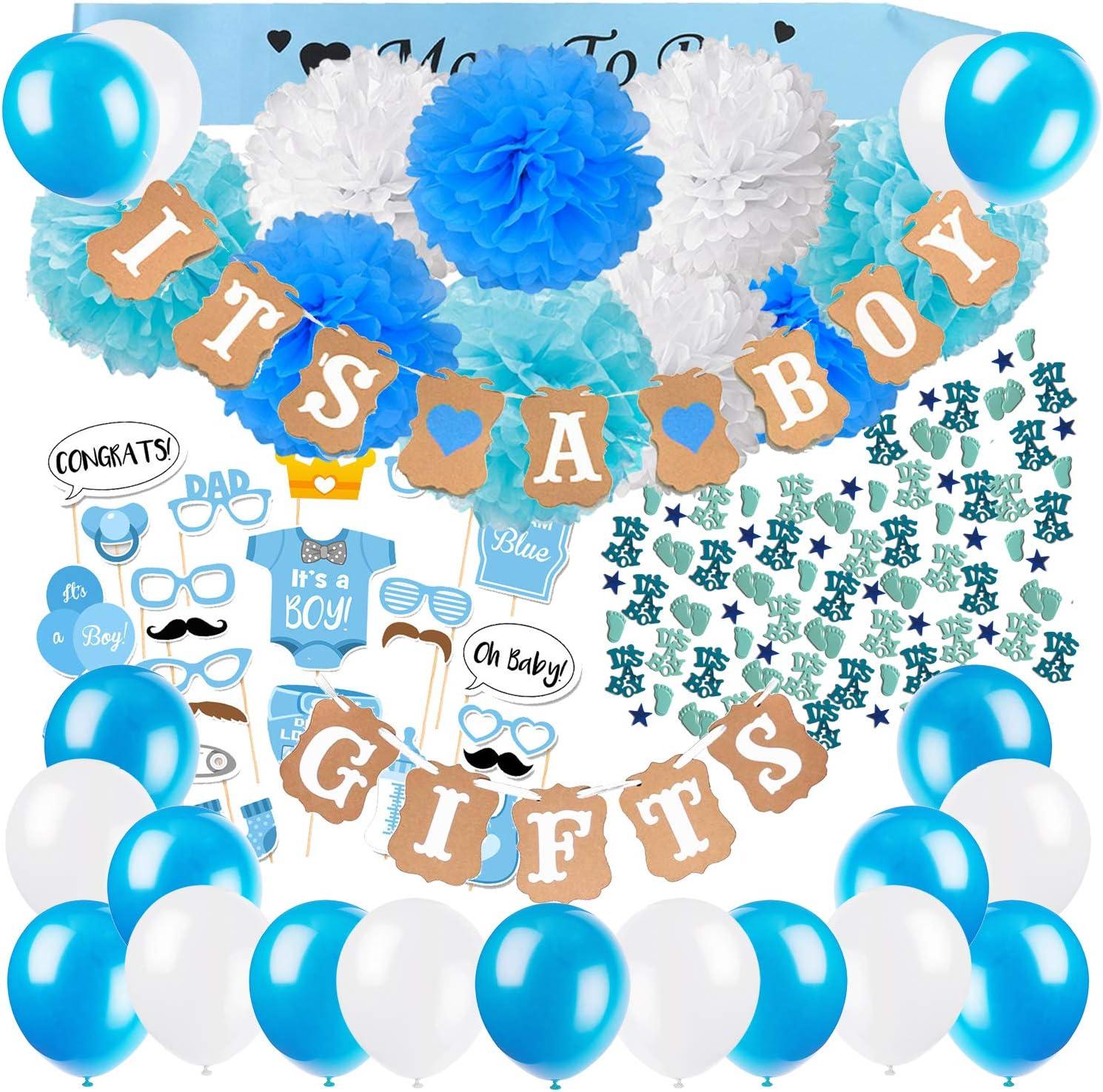 Zerodeco Baby Shower Decoración, It's A Boy Es un Niño e Gifts Banner Rústico Guirnalda con Flores de Papel de Tejido Banda Futura Mama Mum to Be Fotomaton de Recien Nacidas Fiesta Confeti e Ballon