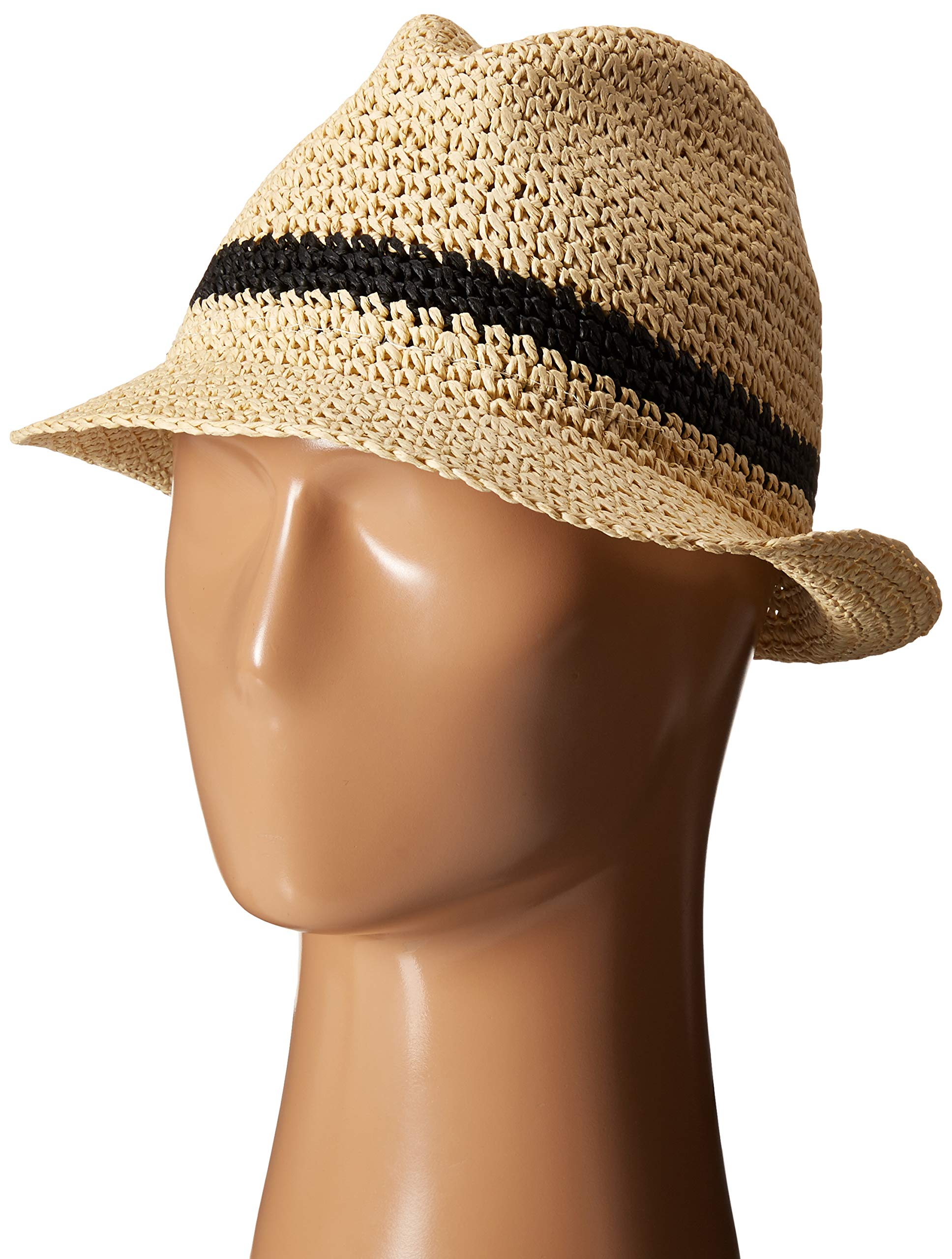 Kate Spade New York Women's Crochet Packable Fedora Natural/Black One Size by Kate Spade New York (Image #1)