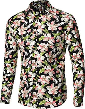 2019 Mens Hawaii Casual Shirts Long Sleeved Flower Floral Dress Shirt Tops New