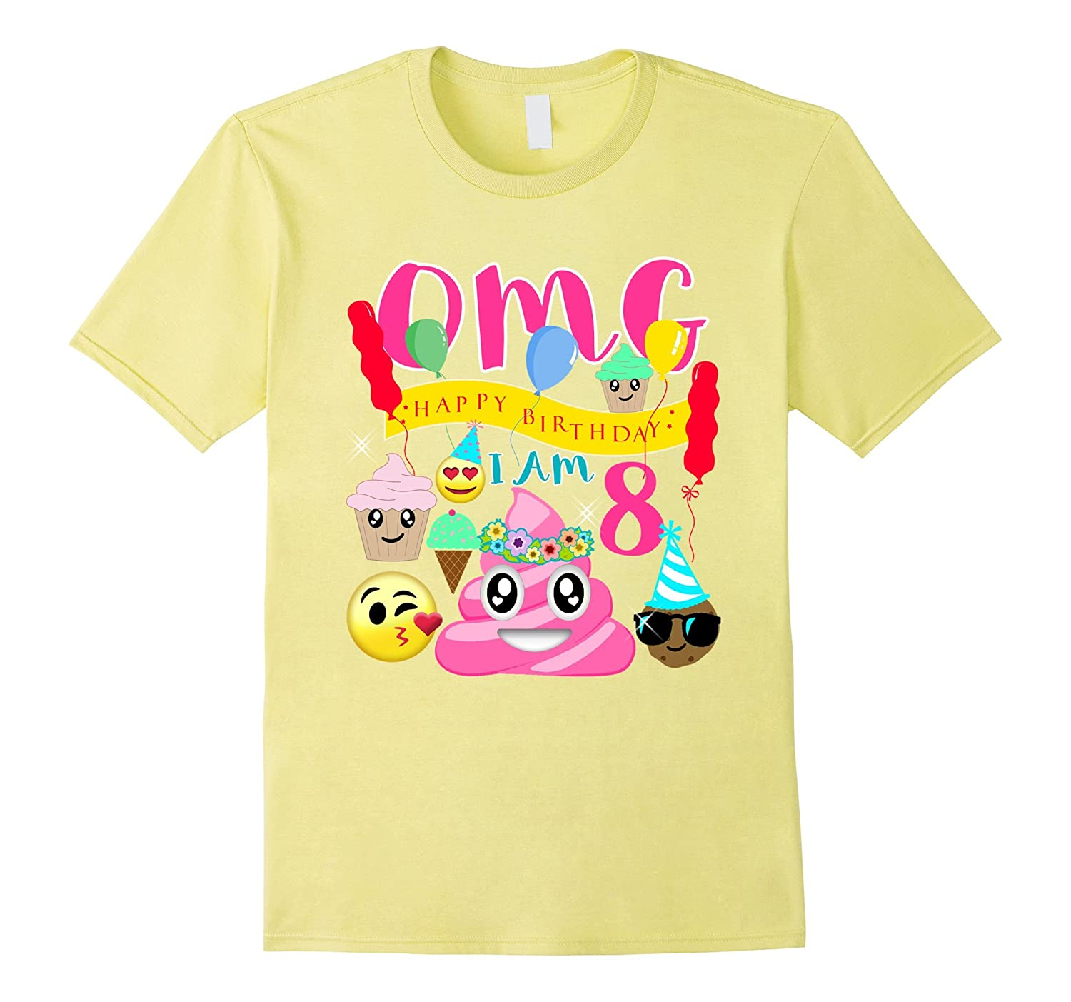 Pink Poo Emoji Poop Birthday Shirt 8th Party 8 Years Old ANZ