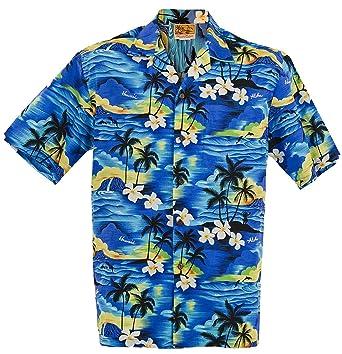 19bb48be (SUNSET ALLOVER) WinnieFashion Hawaiian (100% cotton) Aloha Shirt in BLUE (