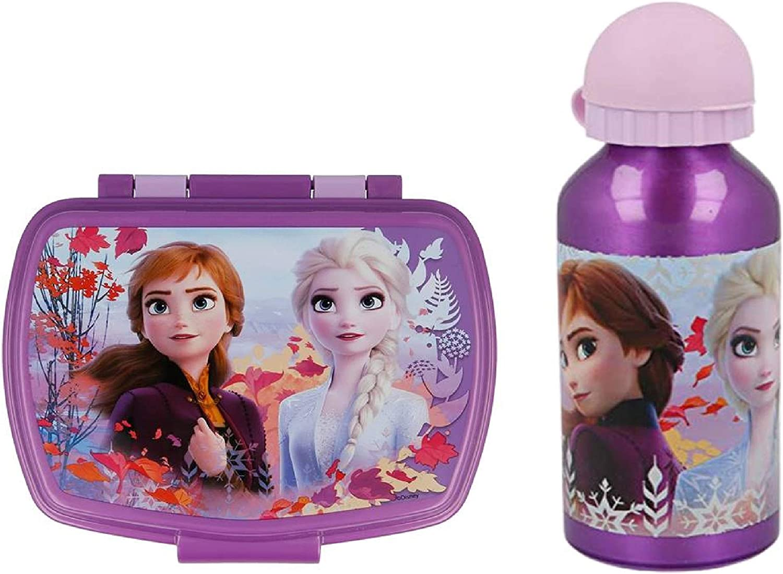 CM Set Botella de Agua de Aluminio Infantil y Fiambrera para Colocar los almuerzos - para niñas, cantimplora de Aluminio a Prueba de Fugas sin BPA 400ml