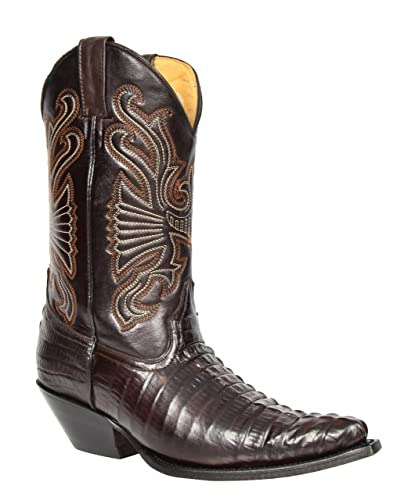 21bc6bc960ffd Hommes Bottes De Cowboy en Cuir Marron Croc Glisser sur Bout Pointu  Designer Meuleuses Bottes -