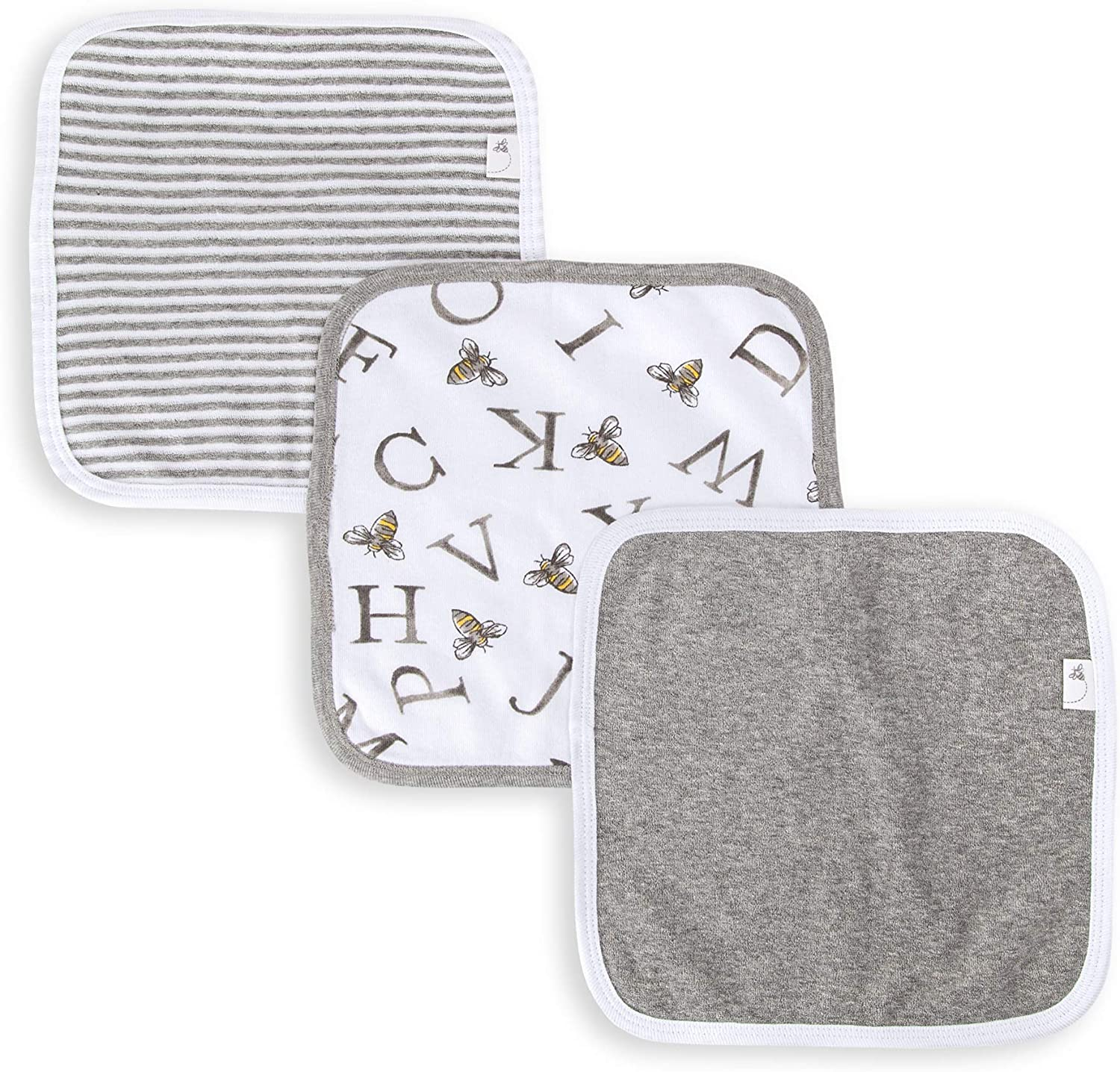 Super Soft 100/% Organic Cotton Washcloths Burts Bees Baby A-Bee-C, 3-Pack Absorbent Knit Terry