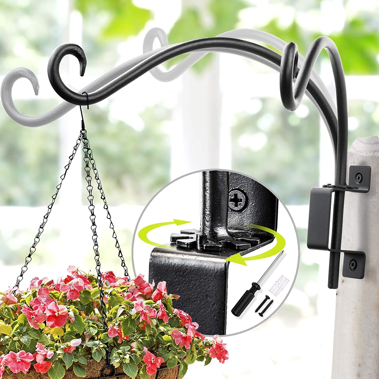Swivel Plant Hanger Hand Forged Hanging Plant Bracket 12 Inch Black More Convenient Use And Designed With Rotary Fixation For Wall Plant Hooks Garden Outdoor