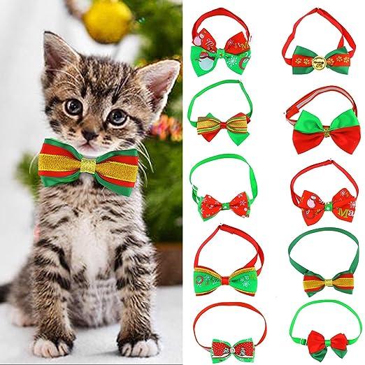 OTOTEC 10 Piezas de Navidad Mascota Gato Perro Pajarita Ajustable ...