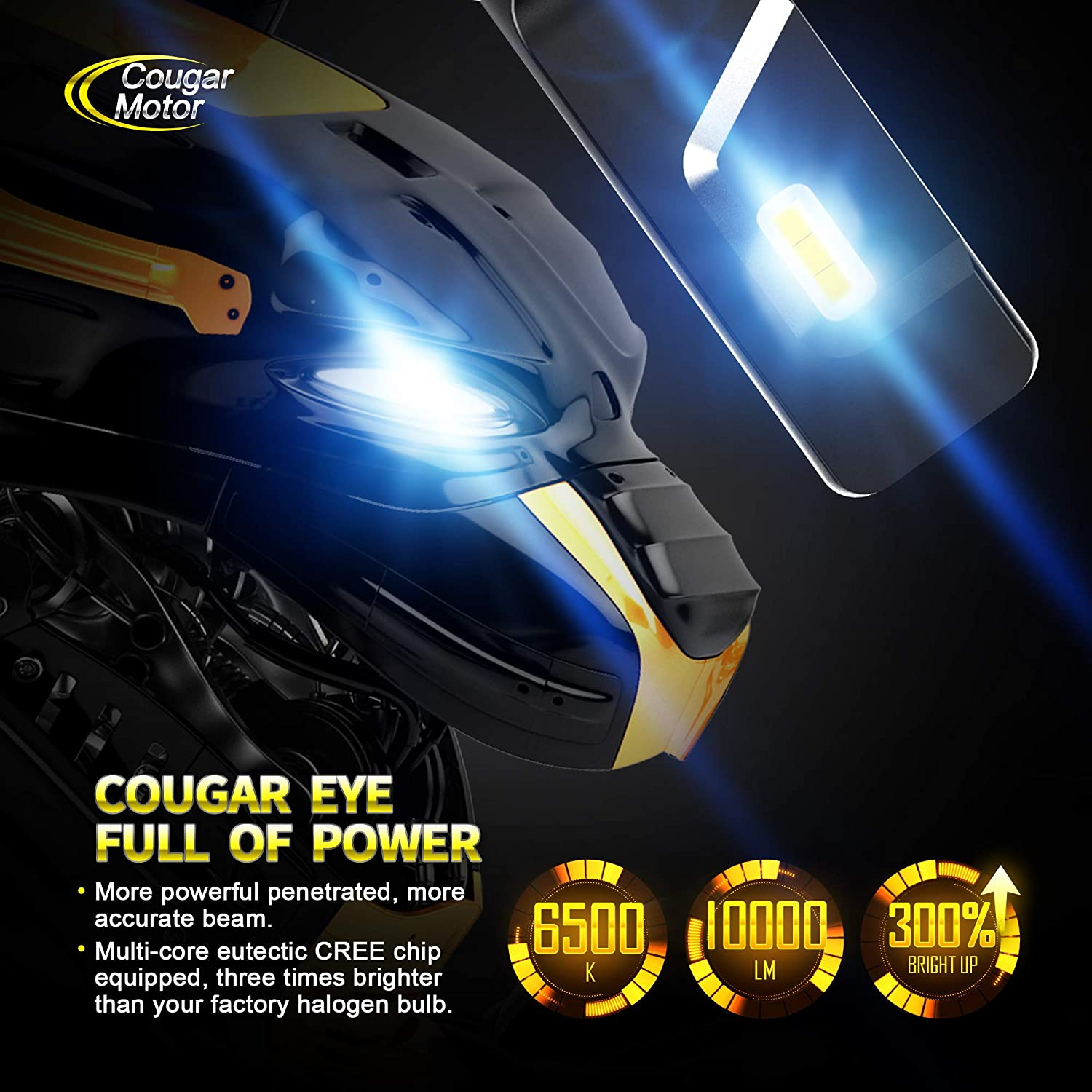 Cougar Motor X-Small H7 LED Headlight Bulb 10000Lm 6500K All-in-One Conversion Kit Cool White CREE