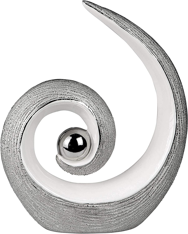 Lifestyle /& More Sculpture Moderne Figure de d/écoration en c/éramique en Blanc//Argent Hauteur 27 cm