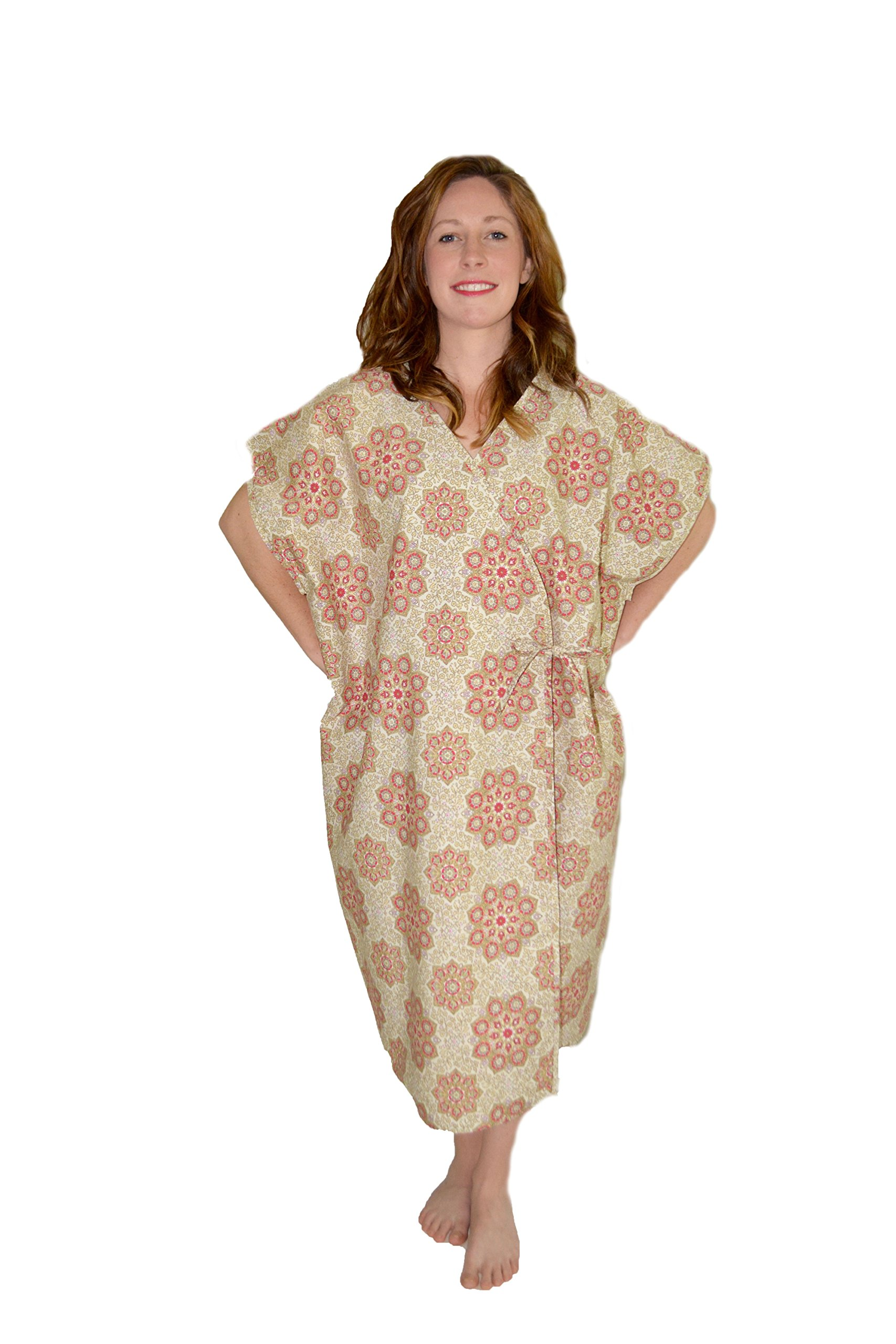 Health Gear - Open Front Kimono Mammography Exam Imaging Gown - Floral Dreams , M-XL (6 piece pack)