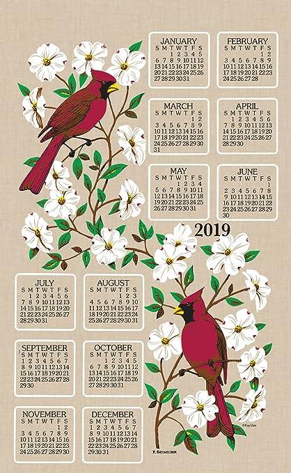 KayDee Designs 2019 Linen Calendar Kitchen Towel (Dogwood)