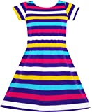 Girls Dress Colorful Striped Knitted Cotton Stretch School Sundress