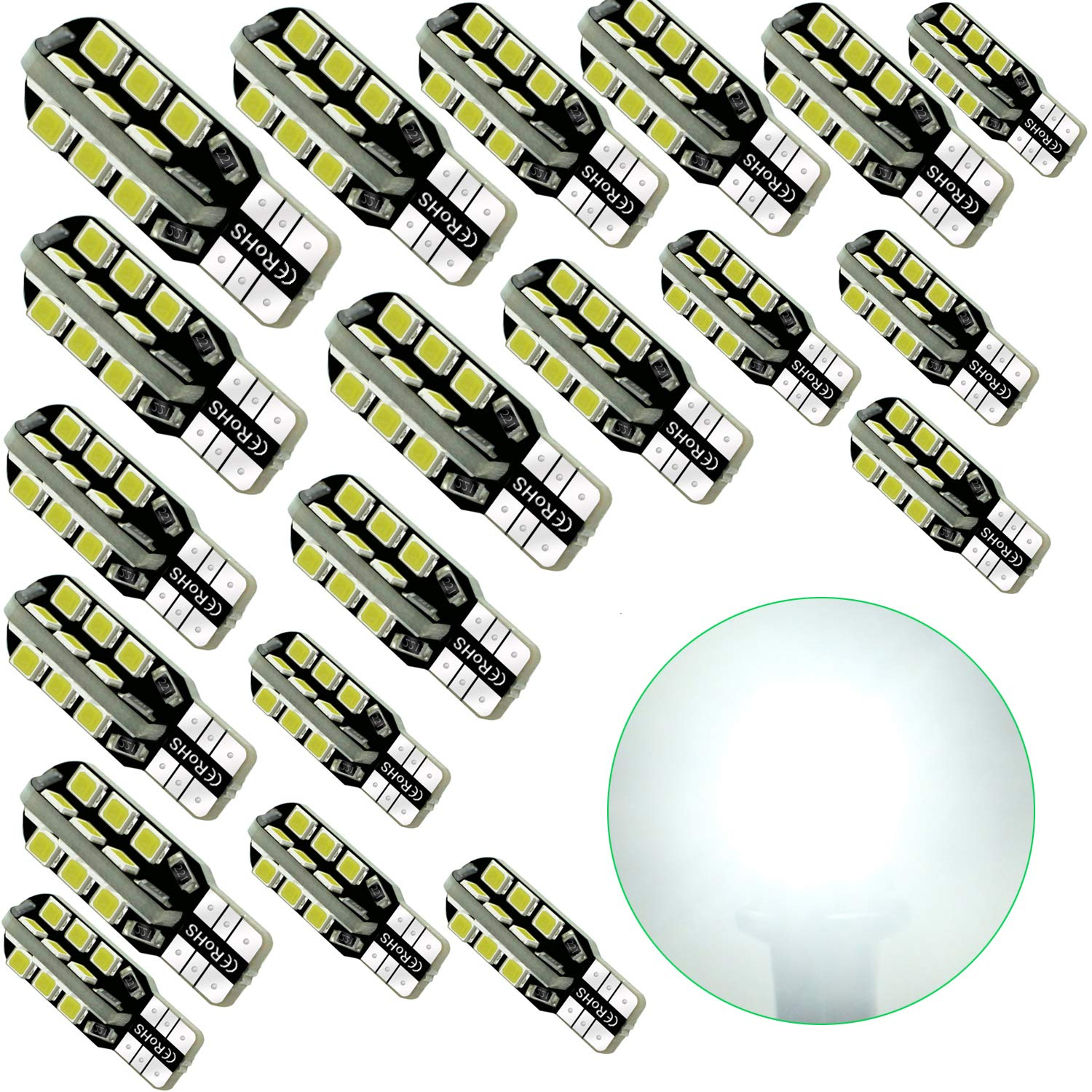 Debonauto-10 x T15 LED Light Bulb Super Bright 6000k 12v T10 921 168 194 Trailer, Boat, RV, Iandscaping & Camper Interior Wedge 24-SMD(Pure White)