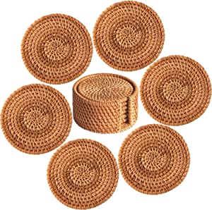 Equeen Handicraft Rattan Coasters with Holder, 100% Natural Rattan Coasters for Drinks Absorbent with Holder, Cup Coasters for Table, Wood Coasters, Handmade Wood Drink Coasters with Holder | 7 Pcs
